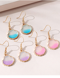 Fashion Pink Resin Scallop Alloy Earrings