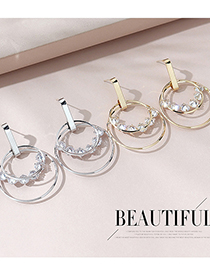 Fashion Platinum Real Gold Plated Cutout Earrings