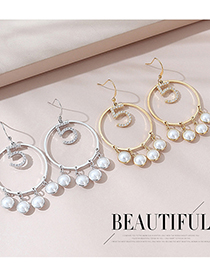 Fashion Platinum Real Gold Plated Hollow Large Circle Pearl Earrings