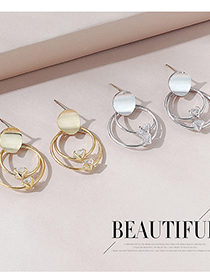 Fashion Platinum Real Gold Plated Small Circle Hollow Earrings