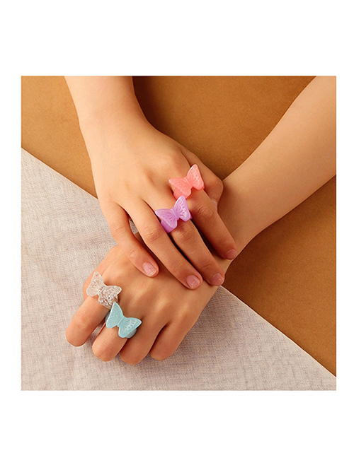 Fashion Blue Resin Butterfly Open Ring