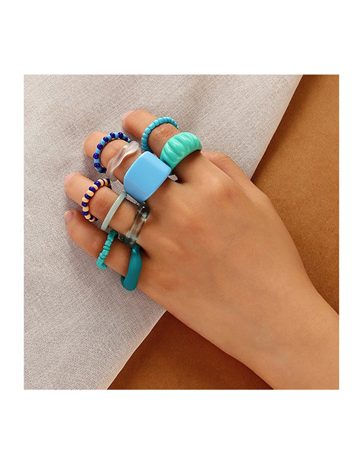 Fashion Color Resin Rice Bead Ring Set
