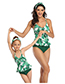 Fashion Milk Texture Siamese Printed Knotted Parent-child One-piece Swimsuit Adult