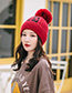 Fashion Orange Velvet Yb Letter Wool Ball Knitted Hat