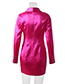Fashion Rose Red Long-sleeved Single-breasted Suit Dress