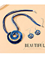 Fashion Blue Painting Oil Swirl Alloy Hollow Necklace Earrings Set