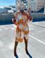 Fashion Orange Lapel Loose Printed And Dyed Long Sleeve Dress