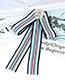 Trendy Blue Stripe Pattern Decorated Bowknot Brooch