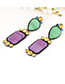Fashion Multi-color Square Shape Design Long Earrings