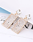 Elegant Beige Square Shape Design Hollow Out Earrings
