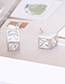 Fashion Gold Color Square Shape Diamond Decorated Earrings