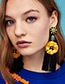 Elegant Yellow Flower Decorated Long Tassel Earrings