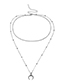Elegant Silver Color Moon Pendant Decorated Double Layer Necklace
