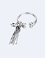 Elegant Silver Color Tassel&star Decorated Pure Color Ring