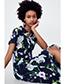 Vintage Multi-color Flower Pattern Decorated Short Sleeves Dress