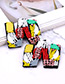 Fashion Multi-color W Letter Shape Decorated Earrings