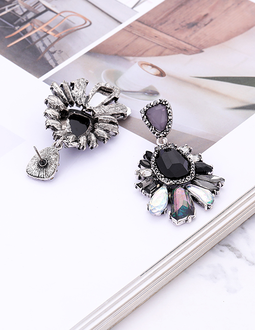 Fashion Coffee Geometric Shape Diamond Decorated Earrings
