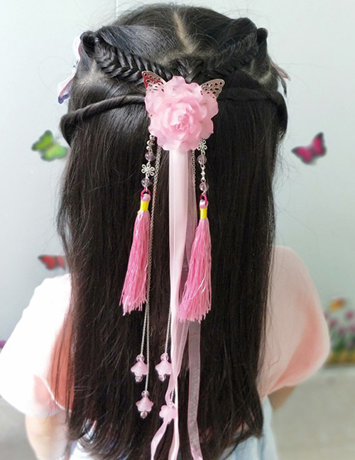 Simple White Flower Shape Decorated Tassel Hair Clip