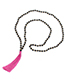 Fashion Claret Red Tassel&bead Decorated Necklace