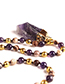 Trendy Dark Purple Irregular Shape Gemstone Design Long Necklace
