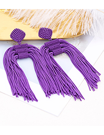 Fashion Green Pure Color Decorated Tassel Earrings