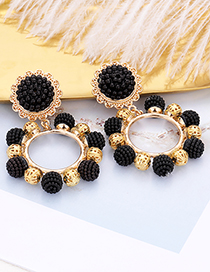 Fashion Blue Round Shape Decorated Earrings