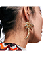 Fashion Gold Color Leaf Shape Decorated Pure Color Earrings