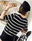 Fashion Black Stripe Pattern Decorated Shirt