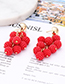 Fashion Plum Red Round Shape Decorated Earrings