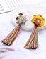 Fashion Blue Flower Shape Decorated Tassel Earrings