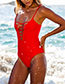 Sexy Red V Neckline Design Pure Color Swimwear