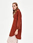 Fashion Claret Red Pure Color Design Long Sleeves Coat