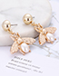 Fashion White Pearl Decorated Bee Shape Earrings