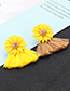 Fashion Yellow+plum Red Flowers Decorated Tassel Earrings