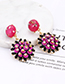 Fashion Black Flower Shape Decorated Round Earrings