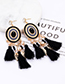 Fashion Sapphire Blue Leaf Shape Decorated Tassel Earrings