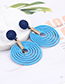 Fashion Blue Round Shape Decorated Hollow Out Earrings