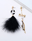 Fashion Black+gold Color Feather&pearl Decorated Earrings
