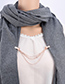 Fashion Rose Gold Chains Decorated Pure Color Shawl Buckle
