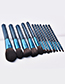 Fashion Blue+black Flame Shape Decorated Make Up Brush(12pcs)