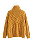 Fashion Yellow Pure Color Design Long Sleeves Sweater