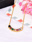 Fashion Gold Copper Inlaid Zirconium Colored Curved Necklace