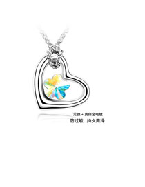 Active color White Butterflies Charm Crystal Crystal Necklaces
