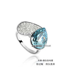 Extreme Blue Crystal Elements Alloy Crystal Rings