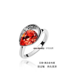 Montgomery red Heart Shape Design alloy Crystal Rings