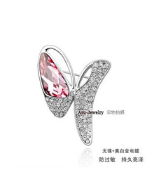 Butterfly rose red Red Brooch Alloy Crystal Brooches