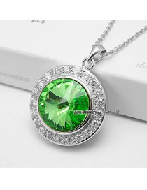 2013 Green Simple Round Design Crystal Crystal Necklaces
