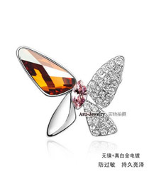 Long Amber Brooch Alloy Crystal Brooches