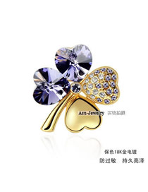 Scottish pale pinkish purple violet Purple Brooch Alloy Crystal Brooches
