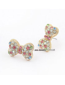 Antique Multicolour Set Auger Bowknot Alloy Stud Earrings